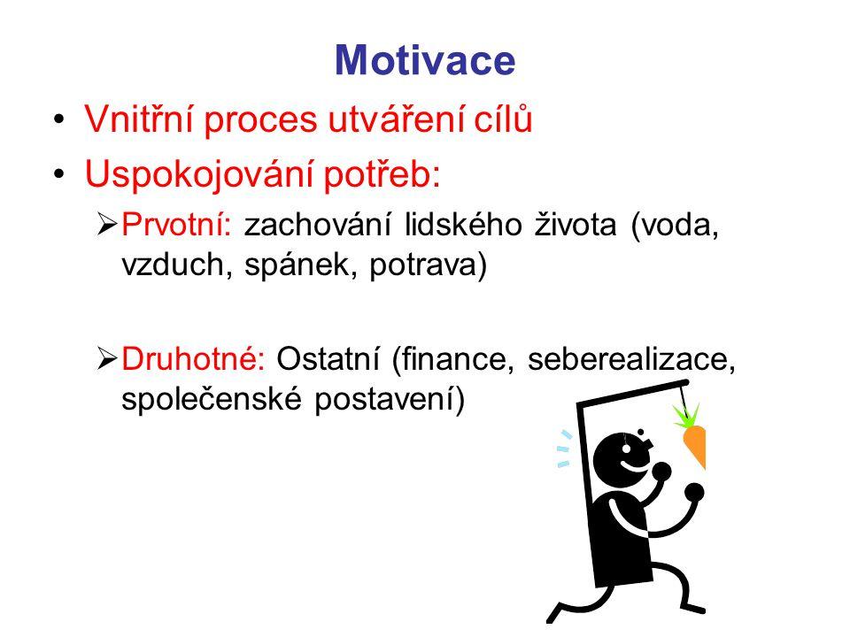Motivace Vnitřní proces utváření cílů Uspokojování potřeb:  Prvotní: zachování lidského života (voda, vzduch, spánek, potrava)  Druhotné: Ostatní (f
