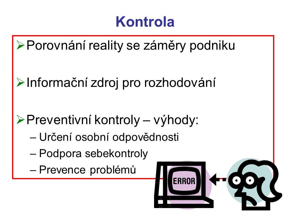Kontrola  Porovnání reality se záměry podniku  Informační zdroj pro rozhodování  Preventivní kontroly – výhody: –Určení osobní odpovědnosti –Podpor