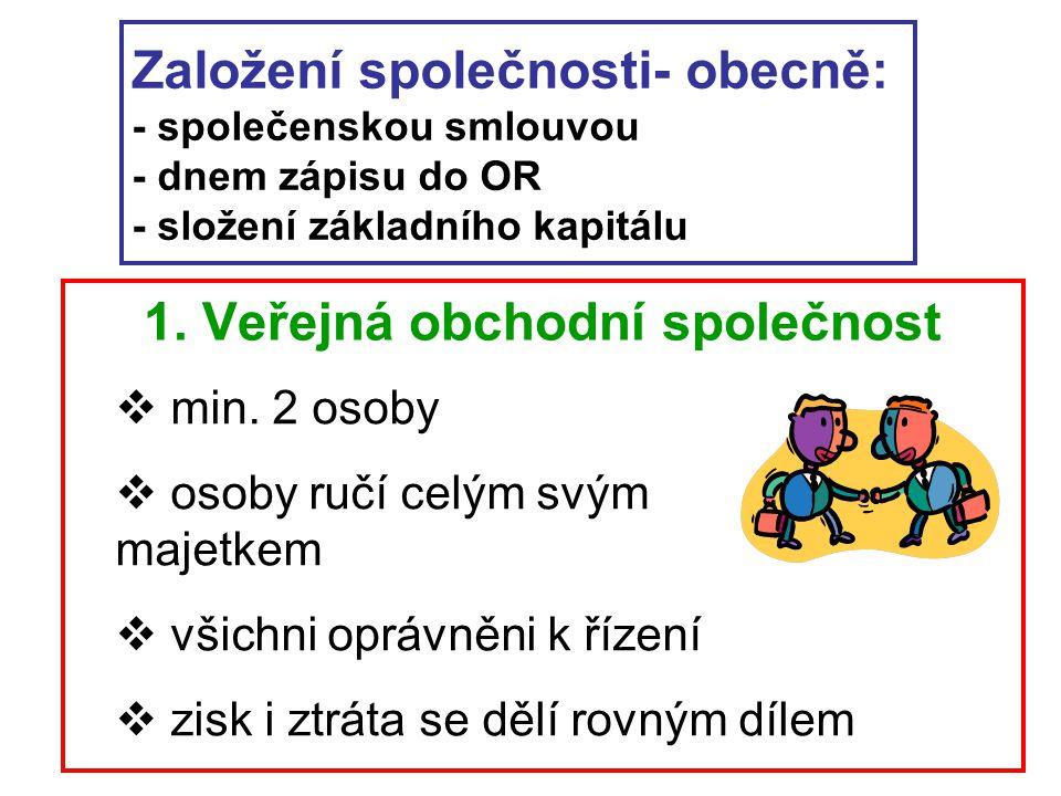Založení společnosti- obecně: - společenskou smlouvou - dnem zápisu do OR - složení základního kapitálu 1. Veřejná obchodní společnost  min. 2 osoby