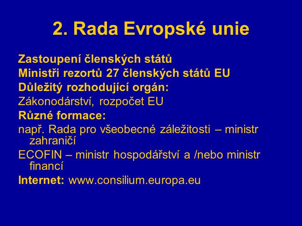 2. Rada Evropské unie Zastoupení členských států Ministři rezortů 27 členských států EU Důležitý rozhodující orgán: Zákonodárství, rozpočet EU Různé f