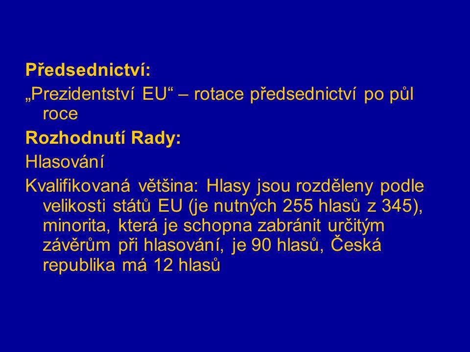 """Předsednictví: """"Prezidentství EU – rotace předsednictví po půl roce Rozhodnutí Rady: Hlasování Kvalifikovaná většina: Hlasy jsou rozděleny podle velikosti států EU (je nutných 255 hlasů z 345), minorita, která je schopna zabránit určitým závěrům při hlasování, je 90 hlasů, Česká republika má 12 hlasů"""