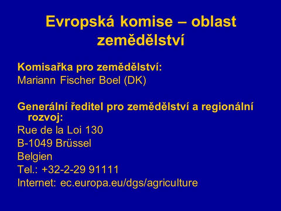 Evropská komise – oblast zemědělství Komisařka pro zemědělství: Mariann Fischer Boel (DK) Generální ředitel pro zemědělství a regionální rozvoj: Rue de la Loi 130 B-1049 Brüssel Belgien Tel.: +32-2-29 91111 Internet: ec.europa.eu/dgs/agriculture