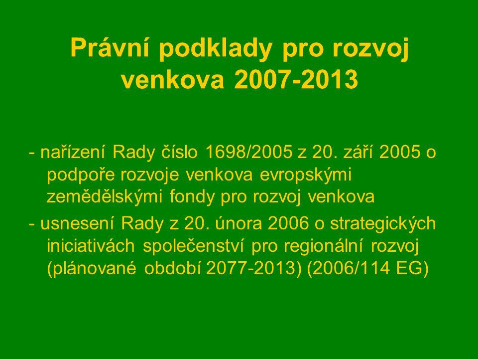 Právní podklady pro rozvoj venkova 2007-2013 - nařízení Rady číslo 1698/2005 z 20.