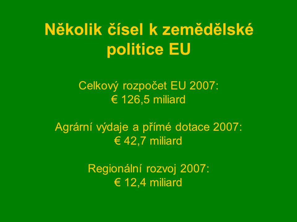 Několik čísel k zemědělské politice EU Celkový rozpočet EU 2007: € 126,5 miliard Agrární výdaje a přímé dotace 2007: € 42,7 miliard Regionální rozvoj 2007: € 12,4 miliard