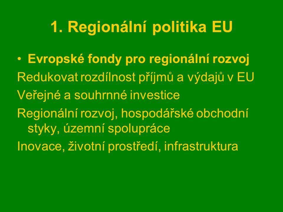 1. Regionální politika EU Evropské fondy pro regionální rozvoj Redukovat rozdílnost příjmů a výdajů v EU Veřejné a souhrnné investice Regionální rozvo