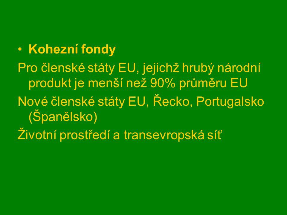 Kohezní fondy Pro členské státy EU, jejichž hrubý národní produkt je menší než 90% průměru EU Nové členské státy EU, Řecko, Portugalsko (Španělsko) Životní prostředí a transevropská síť