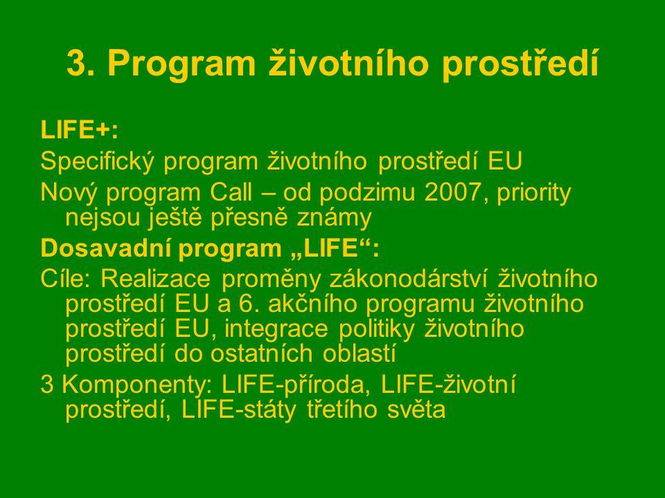 3. Program životního prostředí LIFE+: Specifický program životního prostředí EU Nový program Call – od podzimu 2007, priority nejsou ještě přesně znám