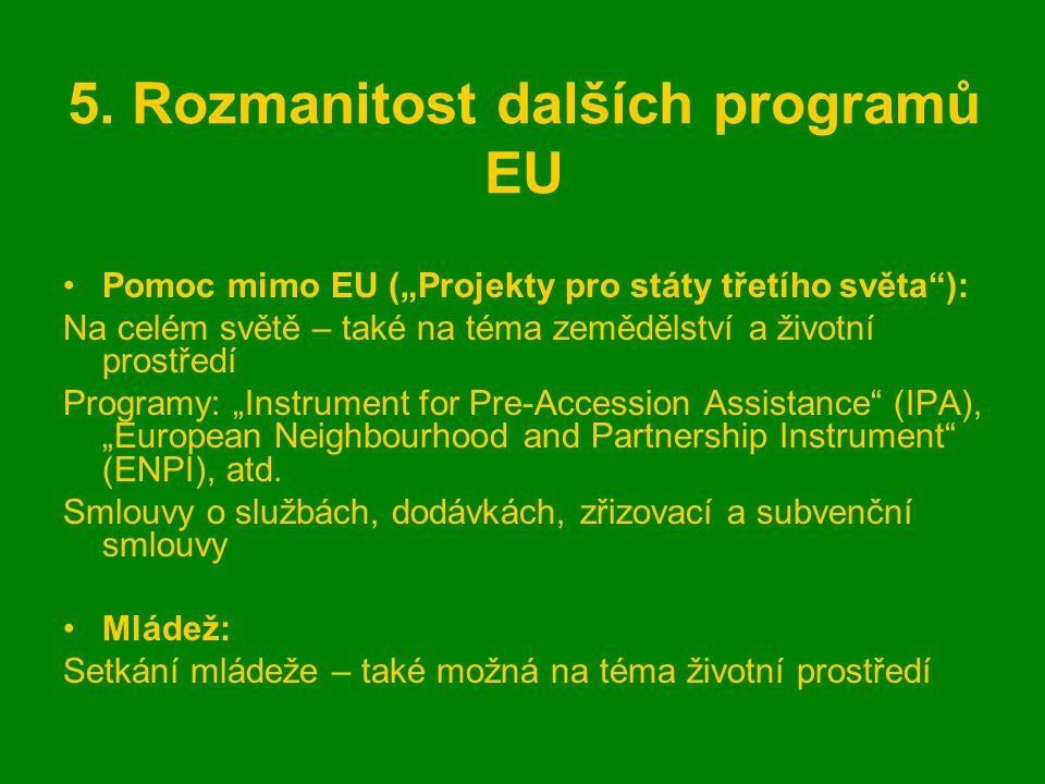 """5. Rozmanitost dalších programů EU Pomoc mimo EU (""""Projekty pro státy třetího světa""""): Na celém světě – také na téma zemědělství a životní prostředí P"""