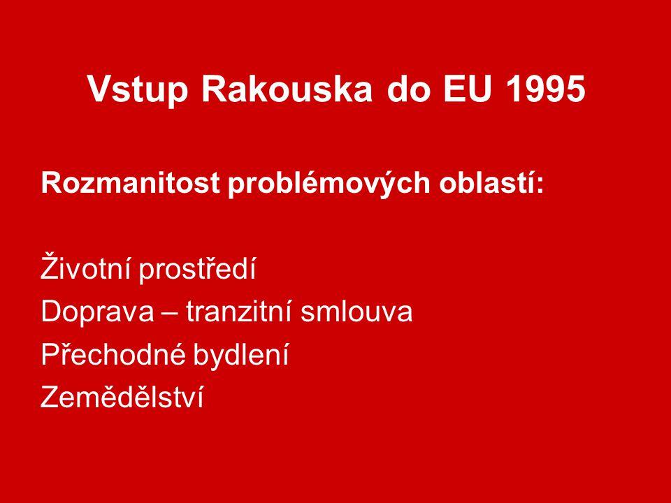 Vstup Rakouska do EU 1995 Rozmanitost problémových oblastí: Životní prostředí Doprava – tranzitní smlouva Přechodné bydlení Zemědělství