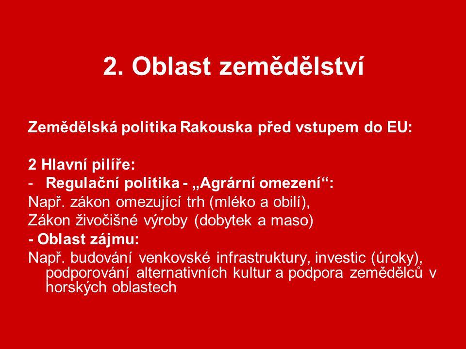 """2. Oblast zemědělství Zemědělská politika Rakouska před vstupem do EU: 2 Hlavní pilíře: -Regulační politika - """"Agrární omezení"""": Např. zákon omezující"""