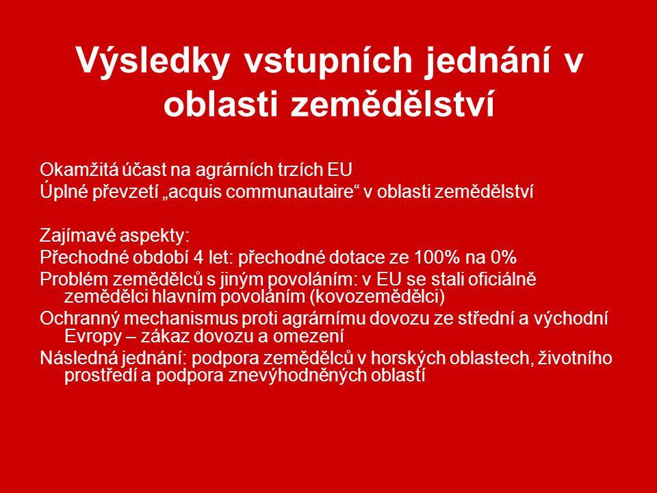 """Výsledky vstupních jednání v oblasti zemědělství Okamžitá účast na agrárních trzích EU Úplné převzetí """"acquis communautaire v oblasti zemědělství Zajímavé aspekty: Přechodné období 4 let: přechodné dotace ze 100% na 0% Problém zemědělců s jiným povoláním: v EU se stali oficiálně zemědělci hlavním povoláním (kovozemědělci) Ochranný mechanismus proti agrárnímu dovozu ze střední a východní Evropy – zákaz dovozu a omezení Následná jednání: podpora zemědělců v horských oblastech, životního prostředí a podpora znevýhodněných oblastí"""