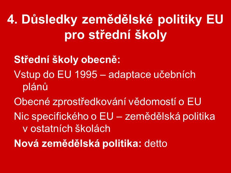 4. Důsledky zemědělské politiky EU pro střední školy Střední školy obecně: Vstup do EU 1995 – adaptace učebních plánů Obecné zprostředkování vědomostí