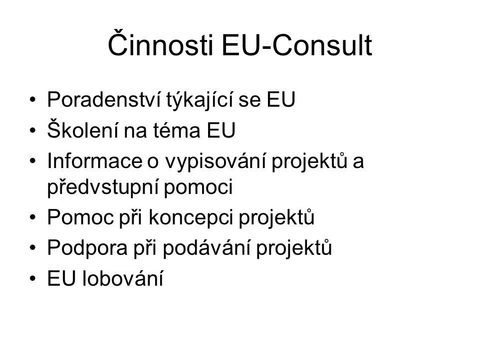 Činnosti EU-Consult Poradenství týkající se EU Školení na téma EU Informace o vypisování projektů a předvstupní pomoci Pomoc při koncepci projektů Podpora při podávání projektů EU lobování