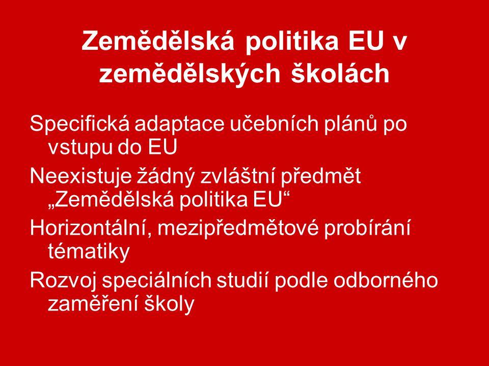 """Zemědělská politika EU v zemědělských školách Specifická adaptace učebních plánů po vstupu do EU Neexistuje žádný zvláštní předmět """"Zemědělská politika EU Horizontální, mezipředmětové probírání tématiky Rozvoj speciálních studií podle odborného zaměření školy"""