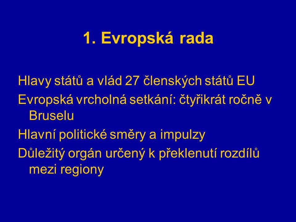 1. Evropská rada Hlavy států a vlád 27 členských států EU Evropská vrcholná setkání: čtyřikrát ročně v Bruselu Hlavní politické směry a impulzy Důleži