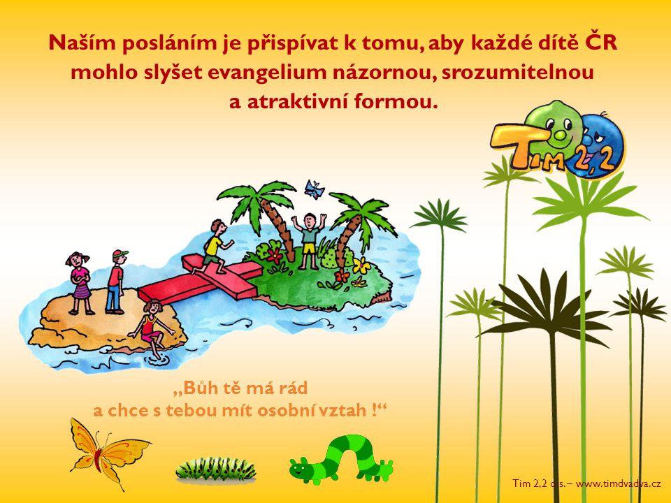 """Tim 2,2 o.s. – www.timdvadva.cz """"Bůh tě má rád a chce s tebou mít osobní vztah !"""" Naším posláním je přispívat k tomu, aby každé dítě ČR mohlo slyšet e"""