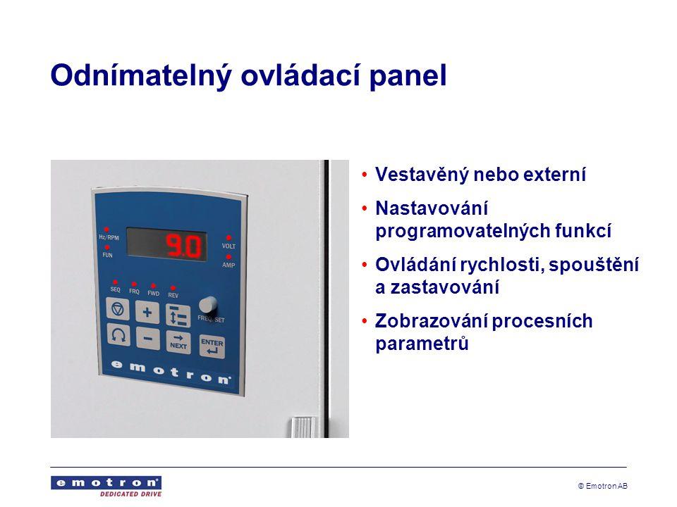 © Emotron AB Odnímatelný ovládací panel Vestavěný nebo externí Nastavování programovatelných funkcí Ovládání rychlosti, spouštění a zastavování Zobraz