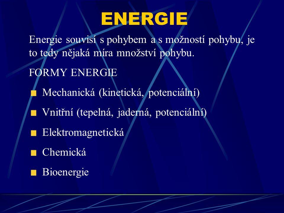ENERGIE Energie souvisí s pohybem a s možností pohybu, je to tedy nějaká míra množství pohybu. FORMY ENERGIE Mechanická (kinetická, potenciální) Vnitř