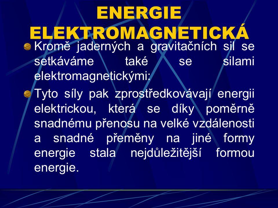 ENERGIE ELEKTROMAGNETICKÁ Kromě jaderných a gravitačních sil se setkáváme také se silami elektromagnetickými: Tyto síly pak zprostředkovávají energii elektrickou, která se díky poměrně snadnému přenosu na velké vzdálenosti a snadné přeměny na jiné formy energie stala nejdůležitější formou energie.
