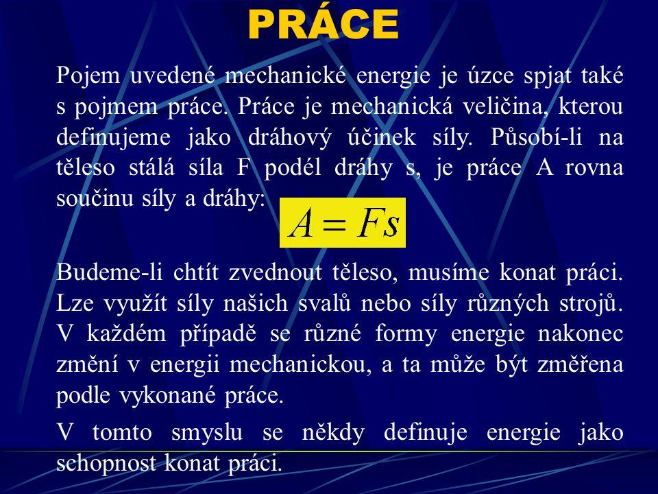 Pojem uvedené mechanické energie je úzce spjat také s pojmem práce.