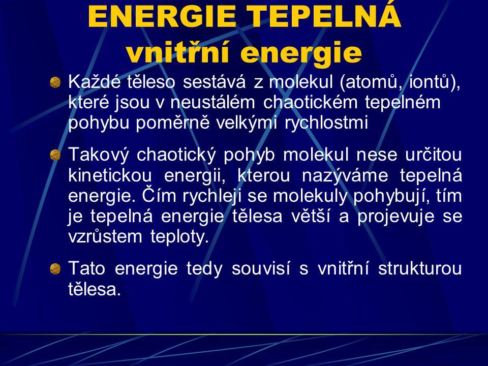 ENERGIE JADERNÁ vnitřní energie Atom je tvořen malým jádrem, které je obklopeno oblakem elektronů.