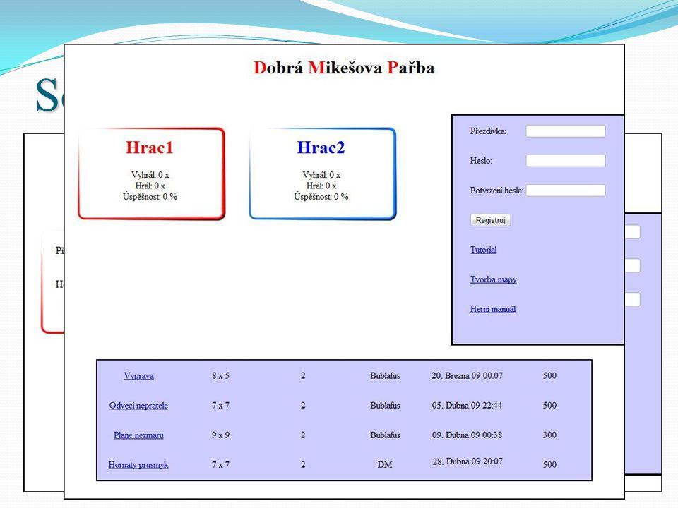 Sekce Generování map Formulář  Po odeslání formuláře se vytvoří šablona herní mapy.