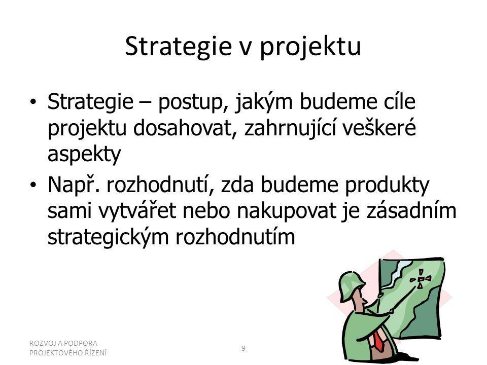 Strategie v projektu Strategie – postup, jakým budeme cíle projektu dosahovat, zahrnující veškeré aspekty Např. rozhodnutí, zda budeme produkty sami v