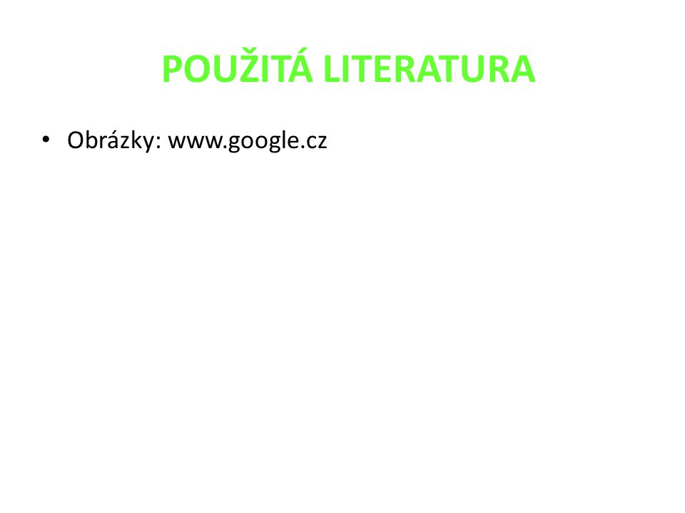 POUŽITÁ LITERATURA Obrázky: www.google.cz