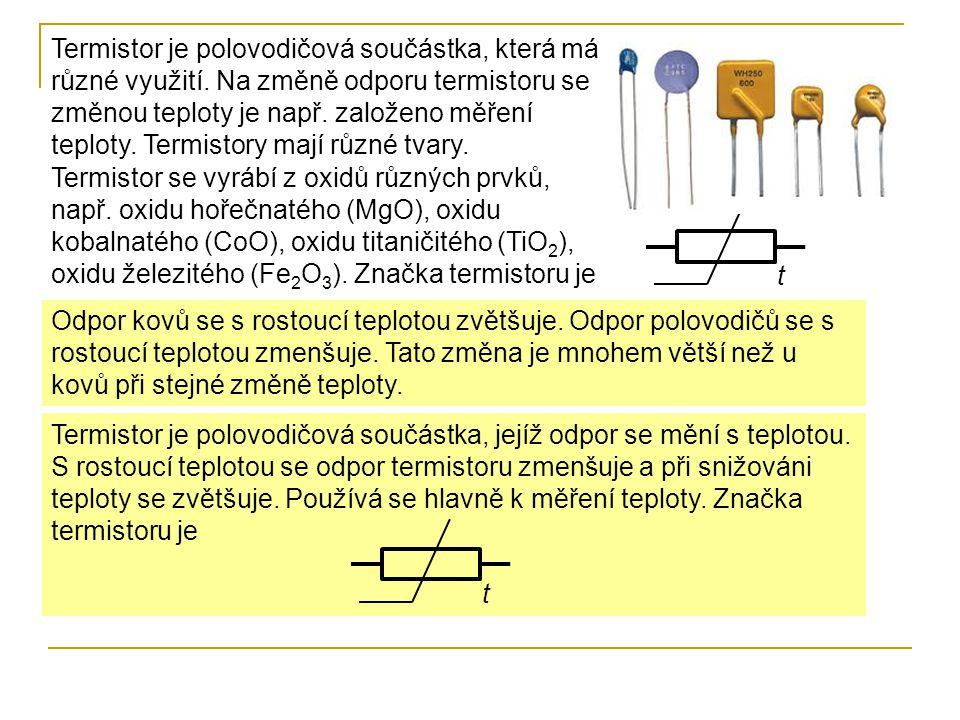 Termistor je polovodičová součástka, která má různé využití. Na změně odporu termistoru se změnou teploty je např. založeno měření teploty. Termistory