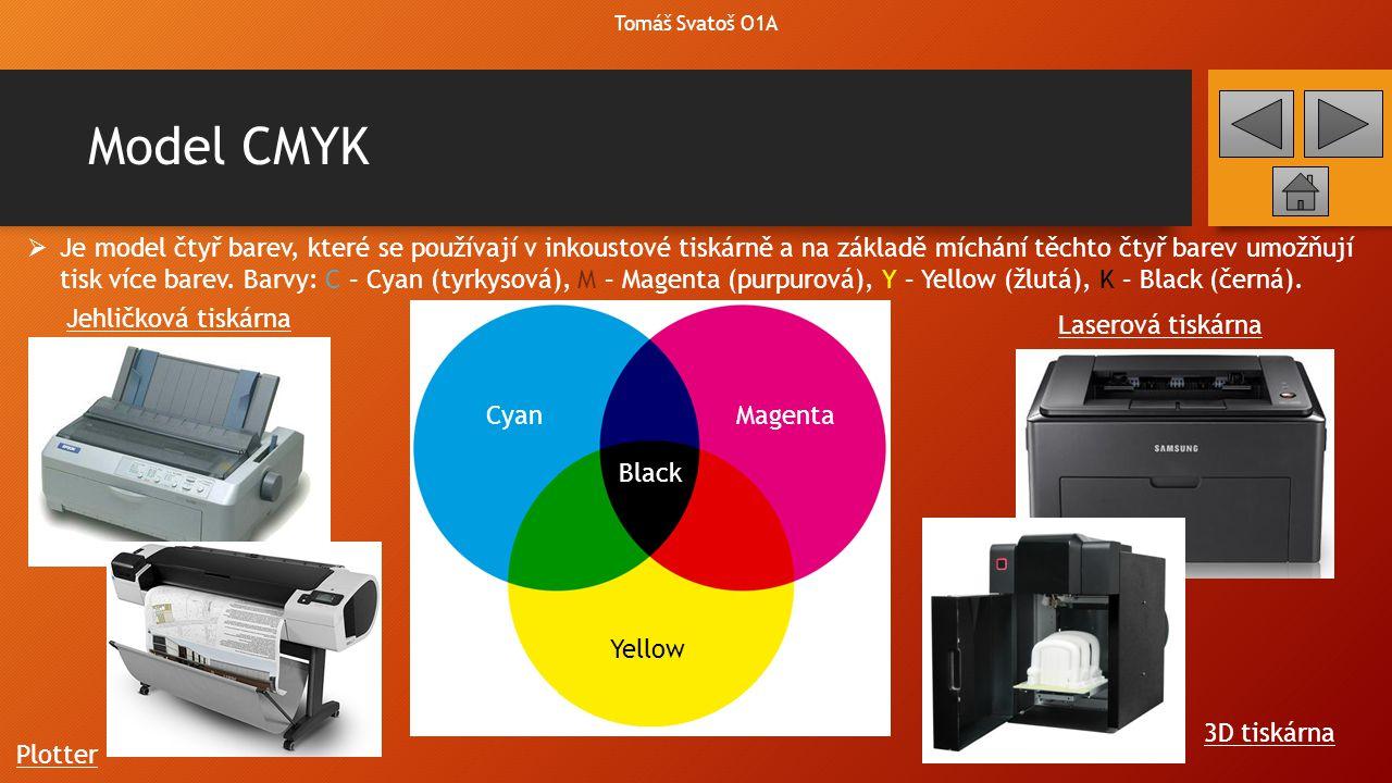 Model CMYK Tomáš Svatoš O1A  Je model čtyř barev, které se používají v inkoustové tiskárně a na základě míchání těchto čtyř barev umožňují tisk více