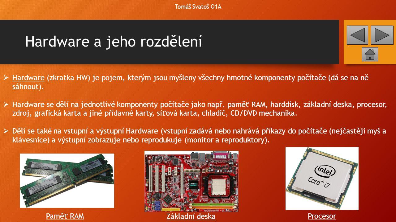 Hardware a jeho rozdělení  Hardware (zkratka HW) je pojem, kterým jsou myšleny všechny hmotné komponenty počítače (dá se na ně sáhnout).  Hardware s