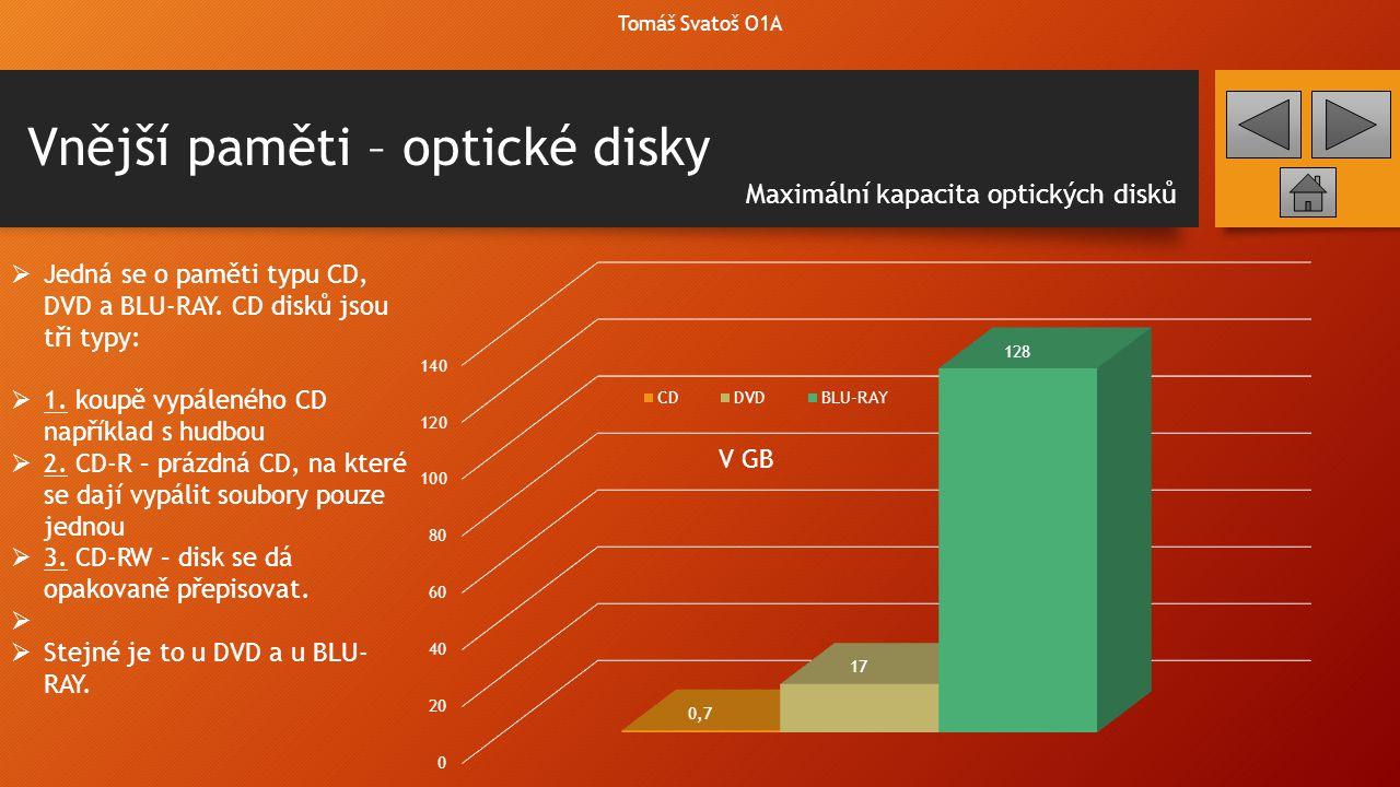 Vnější paměti – optické disky Tomáš Svatoš O1A  Jedná se o paměti typu CD, DVD a BLU-RAY. CD disků jsou tři typy:  1. koupě vypáleného CD například