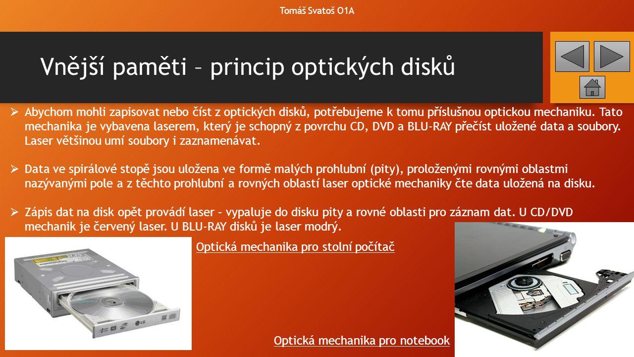 Vnější paměti – princip optických disků Tomáš Svatoš O1A  Abychom mohli zapisovat nebo číst z optických disků, potřebujeme k tomu příslušnou optickou