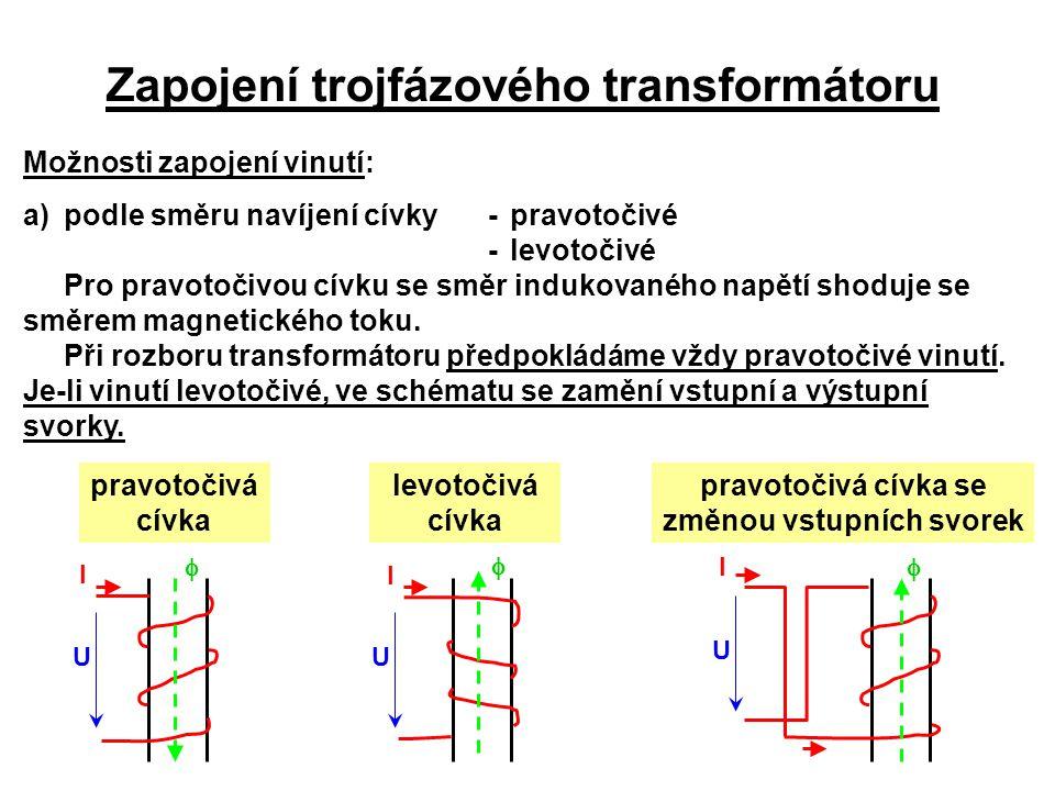 Zapojení trojfázového transformátoru Možnosti zapojení vinutí: a)podle směru navíjení cívky-pravotočivé -levotočivé Pro pravotočivou cívku se směr ind