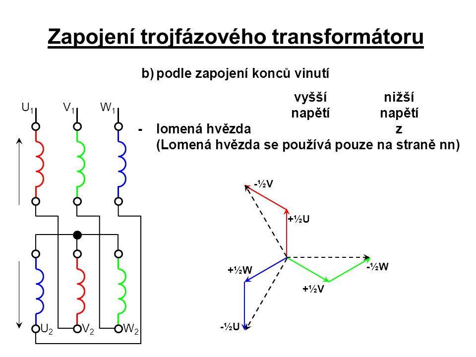 W1W1 U2U2 V1V1 W2W2 V2V2 U1U1 Zapojení trojfázového transformátoru b)podle zapojení konců vinutí vyšší nižší napětínapětí -lomená hvězdaz (Lomená hvěz