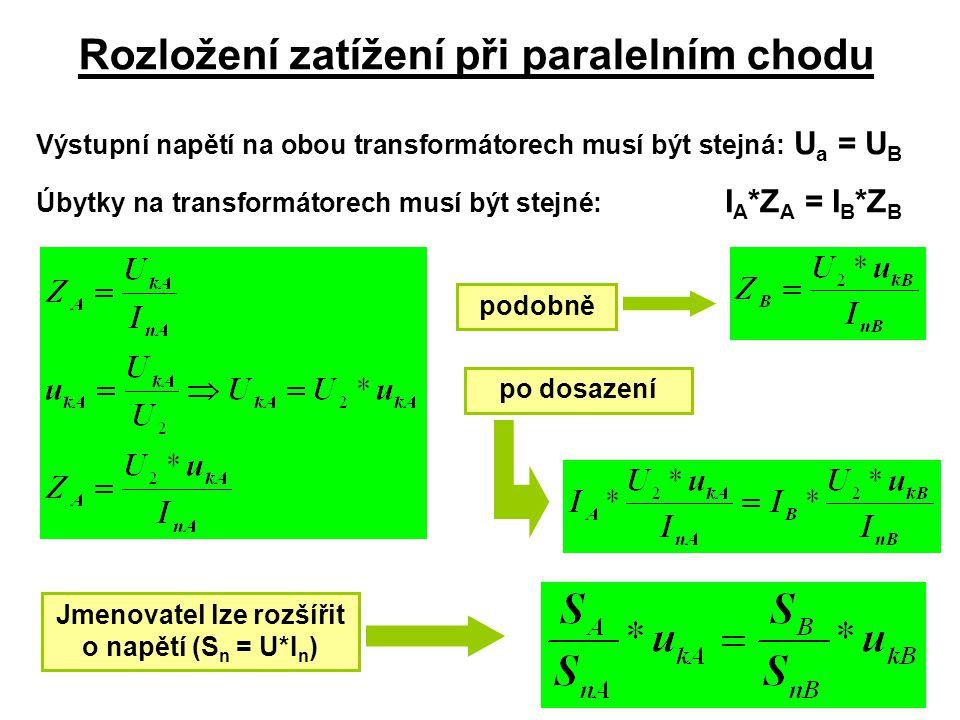 Rozložení zatížení při paralelním chodu Výstupní napětí na obou transformátorech musí být stejná: U a = U B Úbytky na transformátorech musí být stejné