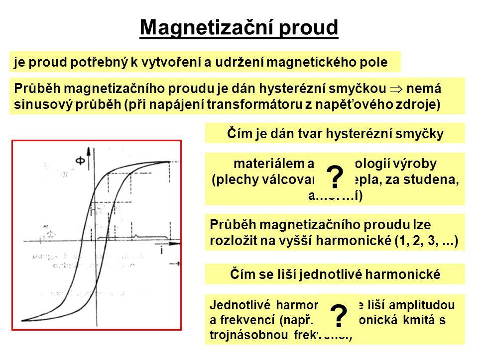 Magnetizační proud je proud potřebný k vytvoření a udržení magnetického pole Průběh magnetizačního proudu je dán hysterézní smyčkou  nemá sinusový pr