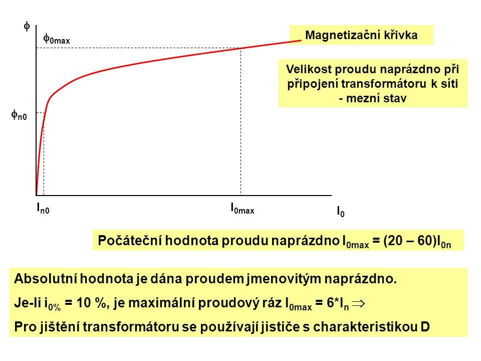 Magnetizační křivka Počáteční hodnota proudu naprázdno I 0max = (20 – 60)I 0n Absolutní hodnota je dána proudem jmenovitým naprázdno. Je-li i 0% = 10