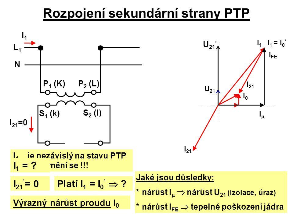 Rozpojení sekundární strany PTP U 21 I0I0 I 21 I1I1 I 1 je nezávislý na stavu PTP a nezmění se !!! I1I1 L1L1 N P 1 (K)P 2 (L) S 1 (k) S 2 (l) I 21 =0