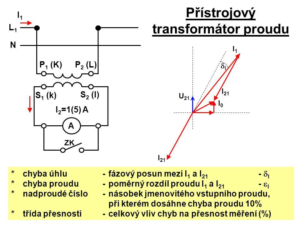 Přístrojový transformátor proudu U 21 I0I0 I 21 I1I1 ZK I1I1 A L1L1 N P 1 (K) I 2 =1(5) A P 2 (L) S 1 (k) S 2 (l) *chyba úhlu - fázový posun mezi I 1