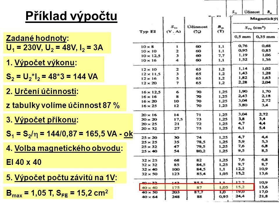 Příklad výpočtu Zadané hodnoty: U 1 = 230V, U 2 = 48V, I 2 = 3A 1. Výpočet výkonu: S 2 = U 2 *I 2 = 48*3 = 144 VA 2. Určení účinnosti: z tabulky volím