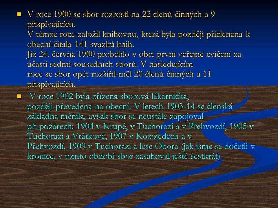 V roce 1900 se sbor rozrostl na 22 členů činných a 9 přispívajících.