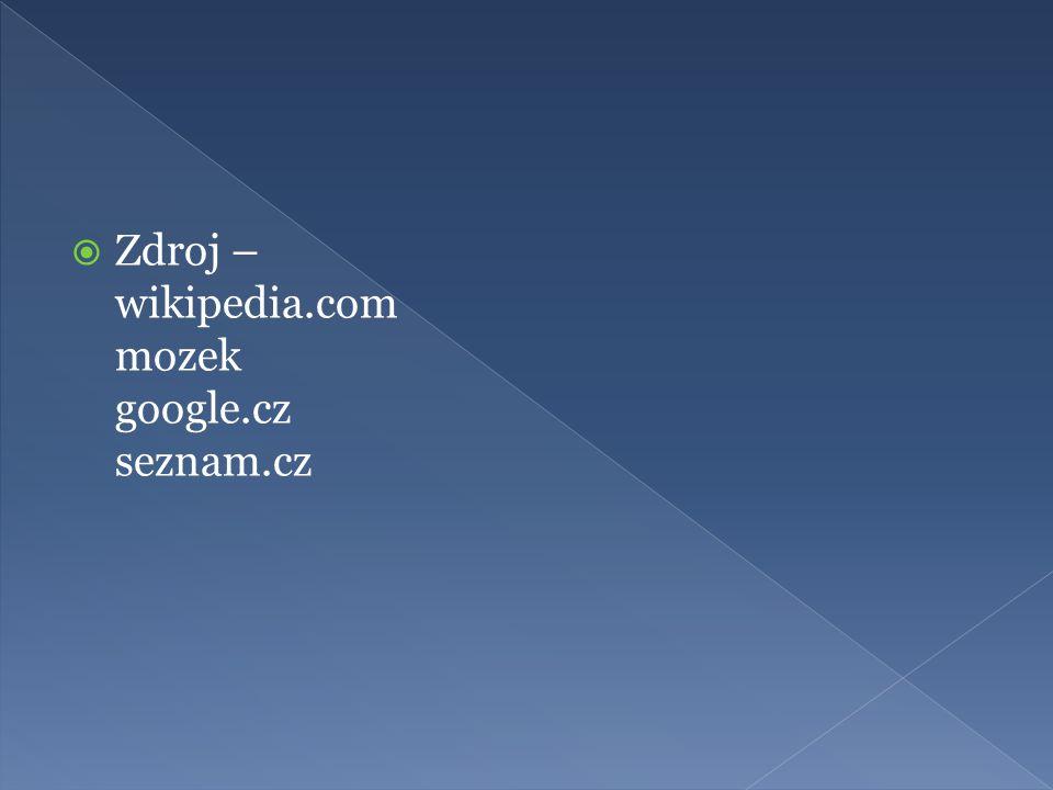  Zdroj – wikipedia.com mozek google.cz seznam.cz