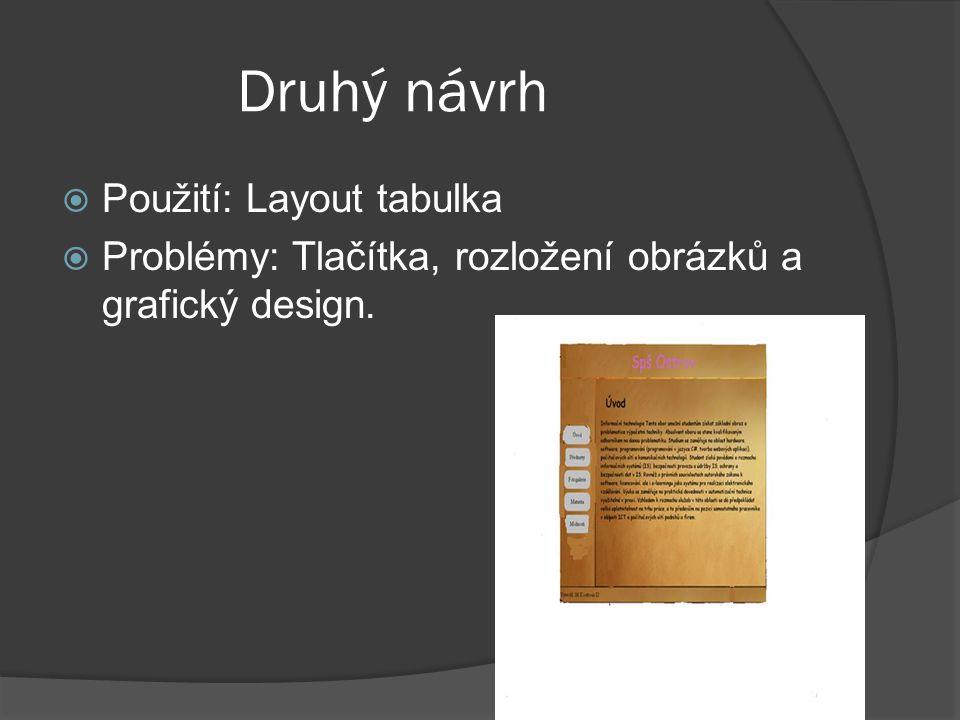 Druhý návrh  Použití: Layout tabulka  Problémy: Tlačítka, rozložení obrázků a grafický design.