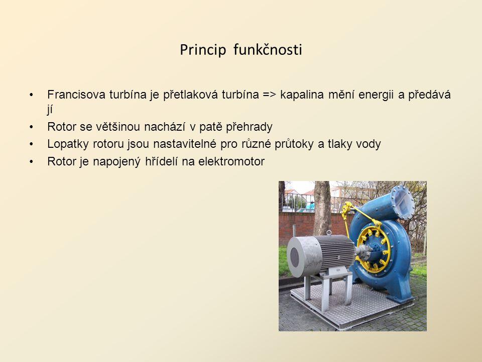 Princip funkčnosti Francisova turbína je přetlaková turbína => kapalina mění energii a předává jí Rotor se většinou nachází v patě přehrady Lopatky rotoru jsou nastavitelné pro různé průtoky a tlaky vody Rotor je napojený hřídelí na elektromotor