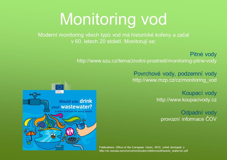 Monitoring vod Moderní monitoring všech typů vod má historické kořeny a začal v 60. letech 20 století. Monitorují se: Pitné vody http://www.szu.cz/tem