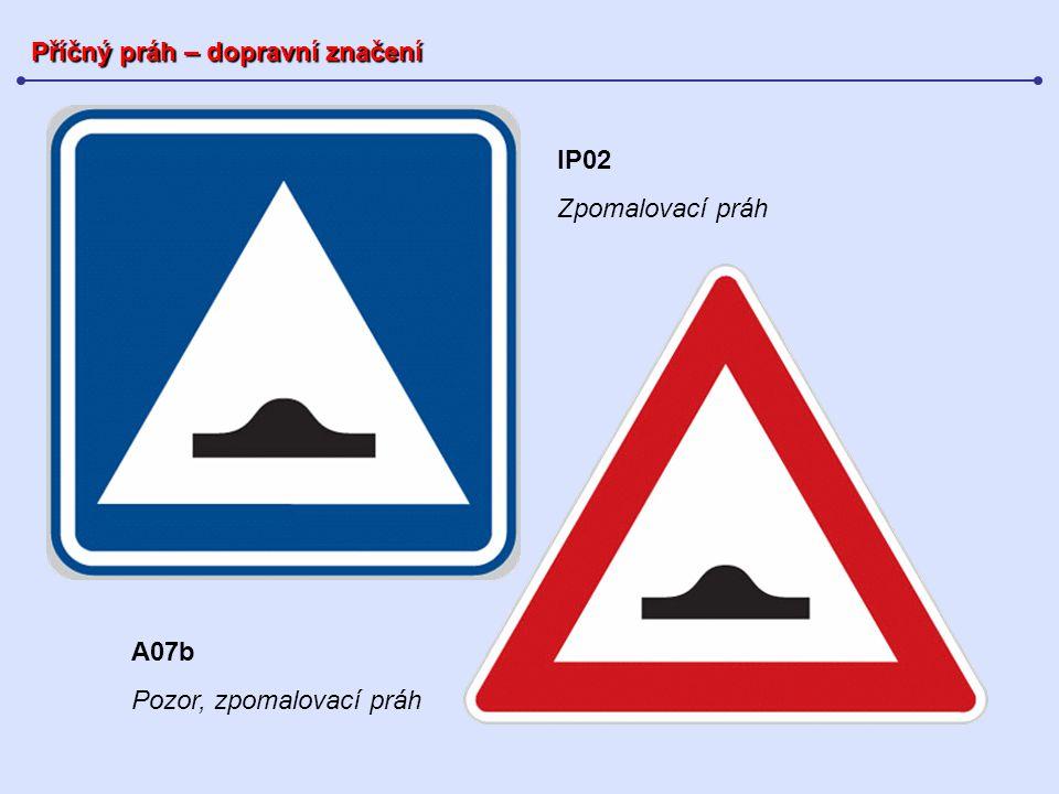 Příčný práh – shrnutí Stavební prvek sloužící ke: snížení rychlosti vozidel dodržování dovolených rychlostí vozidel Dělení příčných prahů: úzký příčný práh široký příčný práh široký příčný práh integrovaný s přechodem pro pěší Příčný práh působí: výškou změnou podélného sklonu nájezdu (nájezdové rampy prahu) délkou