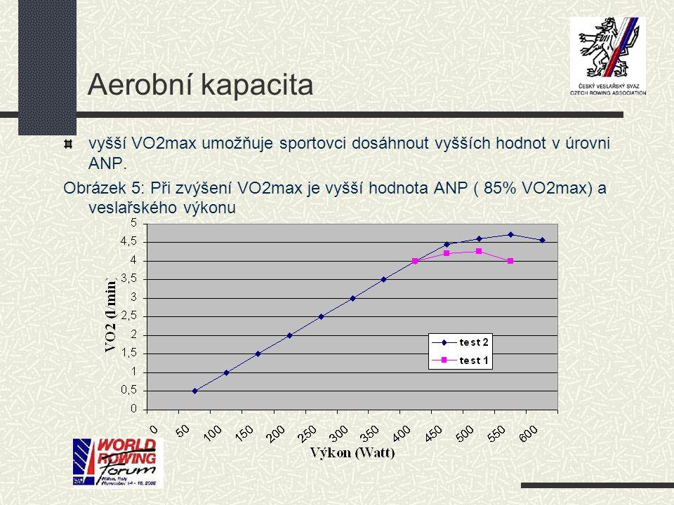 Aerobní kapacita vyšší VO2max umožňuje sportovci dosáhnout vyšších hodnot v úrovni ANP. Obrázek 5: Při zvýšení VO2max je vyšší hodnota ANP ( 85% VO2ma