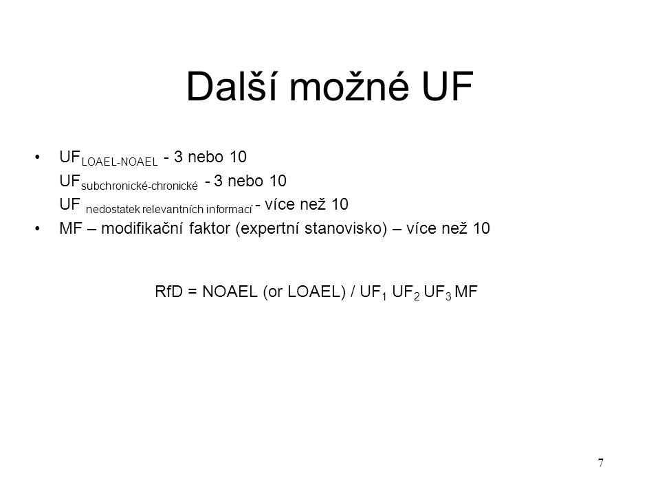"""8 Srovnávací dávka (Benchmark Dose) NOAEL je pouze jediný bod – při výpočtu ADI z NOAEL je ignorován průběh závislosti mezi dávkou a účinkem (křivka """"dávka-účinek ) Bench mark dose (BMD) je vypočtena z křivky """"dávka – účinek – je využita kompletní informace BMD může být využita pouze pokud jsou dostupná data vhodná pro modelování Postup konstrukce BMD pomocí vhodného matematického modelu se proloží experimentální data a vytvoří se tak nejlepší odhad křivky """"dávka-účinek vypočte se horní 95 % konfidenční pás zvolí se hraniční úroveň odpovědi – obvykle 1,5 nebo 10 % z průsečíku zvolené úrovně odpovědi a horního 95 % konfidenčního pásu se odečte příslušná BMD"""