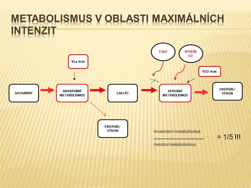 SACHARIDY ANAEROBNÍ METABOLISMUS LAKTÁT AEROBNÍ METABOLISMUS ENERGIE/ VÝKON ENERGIE/ VÝKON KYSLÍK 02 TUKY VLa max VO2 max Anaerobní metabolismus ------------------------ Aerobní metabolismus = 1/5 !!!